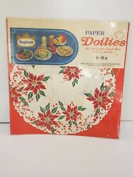 Vintage 1950 60s Poinsettia Paper Doilies Doily Red Green10 20ct Roylcraft New