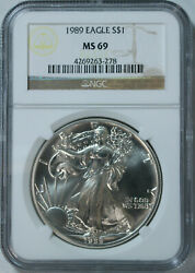 1989 Silver American Eagle Dollar Ngc Ms69 / Top Rated / Freshly Graded 🇺🇸