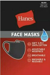 5 Pack of Hanes Black 100% Cotton Face Mask Reusable Protective FREE SHIPPING $14.87