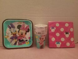 New Disney Minnie Mouse Daisy Duck Party Set For 8 People Plates Napkins And Cups