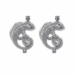 2pcs lot Pearl Cage Alloy Silver Chameleon Locket Charms DIY Jewelry Accessories