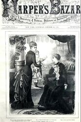 Victorian Fashion 1881 Autumn Dresses Mother And Child Antique Matted Print