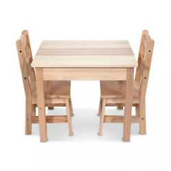 Melissa & Doug Solid Wood Light Finish Playroom Furniture Table and 2 Chairs Set
