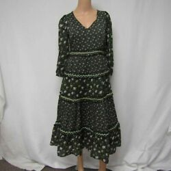Anthropologie Women's US 2P Long Sleeve Floral Tiered Shift Dress GreenBlack $24.99
