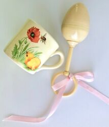 Vintage Or Antique Celluloid Baby Egg Shaped Rattle And Ceramic Child's Cup Or Mug