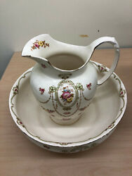 Antique S F And Co England Wash Basin And Pitcher Gem Pattern From Late 1800's