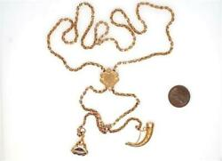 Antique English 9k Gold Slide Chain Necklace W/ Amethyst Seal Fob And Horn Charm
