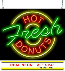 Fresh Hot Donuts Neon Sign   Jantec   30 X 24   Coffee Shop Bakery Cafe Light
