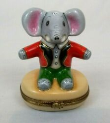 A L Limoges France Pient Main Babar The Elephant Hinged Trinket Box