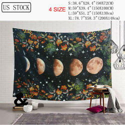 Moonlit Garden Tapestry Moon Phase Flowers Wall Art Hanging Wall Decor Bedroom