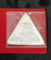 1975 Girl With Roses Silver Tringot Rare Triangle 1 Ounce Fine Silver