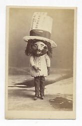 1860's Cdv Photo Man With Ice Skates And Huge Train Ticket, Wears Huge Hat And Mask