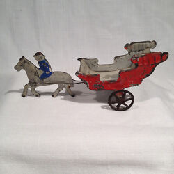 Early American Painted Tin Toy Circus Wagon, Horse And Rider, Fallows, 6.25 Inches