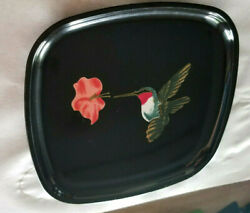 Vintage Couroc Hummingbird Detailed Color Black Tray Oval Free Ship Us Very Rare
