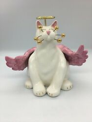 Amy Lacombe Whimsiclay Angelica Figurine Whimsey Cats Ceramic Pink Angel