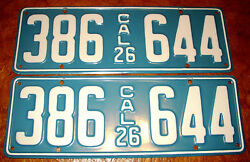 1926 26 California Plates Oakland Buick Willys Dodge Peerless Paige Olds Packard