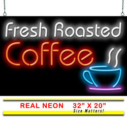 Fresh Roasted Coffee Neon Sign | Jantec | 32 X 20 | Espresso Cafe Diner Shop