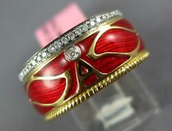 Wide .30ct Diamond And Red Enamel 18k Yellow Gold A Initial Multi Leaf Etoile Ring