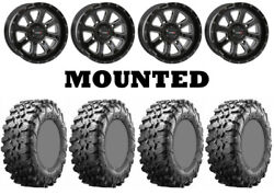 Kit 4 Maxxis Carnivore Tires 28x10-14 On System 3 St-4 Gloss Black Wheels H700