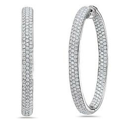 LARGE 6.19CT DIAMOND 18KT WHITE GOLD 3D 3 ROW INSIDE OUT HOOP HANGING EARRINGS