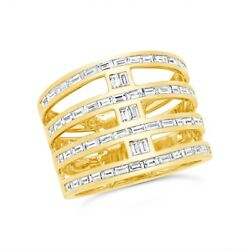 Baguette Diamond Multi Band Open Ring 14k Yellow Gold Wide Cocktail Statement