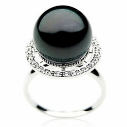 New 14mm Diamond Tahitian Black Pearl Ring Pacific Pearls® Gifts For Best Friend