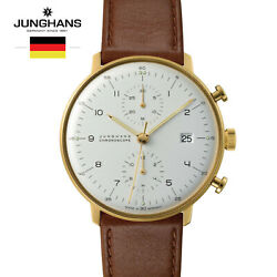 Junghans Max Bill Chronoscope 027/7800.00 Leather Watch For Man Andwoman