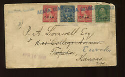 Guam Scott 1 2 5 Stamps On Cover To Topeka And Eureka Ks 1900 Agana Guam Ccl