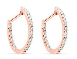 .89ct Diamond 18kt Rose Gold 3d Classic Inside Out Oval Hoop Hanging Earrings