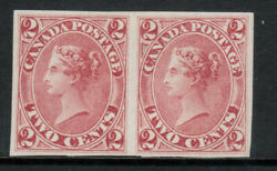 Canada 20b Extra Fine Mint Imperf Pair Unused No Gum As Issued With Cert.