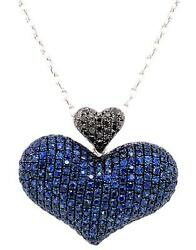 Large 5.27ct Black Diamond And Aaa Sapphire 18k White Gold 3d Double Heart Pendant