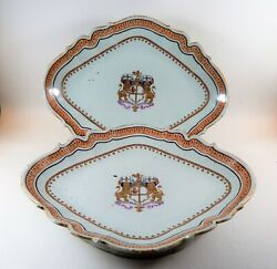 Pair Antique Chinese Export Armorial Dishes British East India Company C. 1800