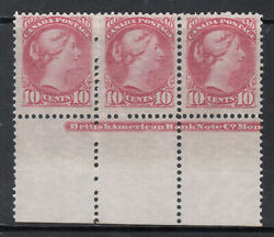 Canada 45a Very Fine Never Hinged Plate Strip Of Three With Certificate
