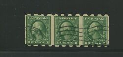 408 Var Dunning Private Perf Washington Imperf Flat Plate Coil Strip Of 3 Stamps