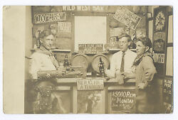 1904-1918 Rppc Cowboy And Beer Including Bud Glass Sign Bar Scene Themed Photo