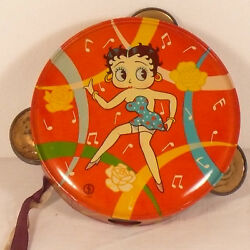 Early 1930and039s Betty Boop Tin Toy Tambourine Japan Fantastic Bright Condition