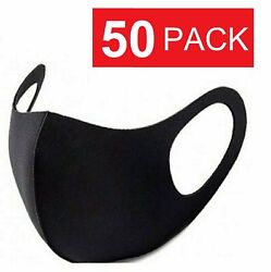 50 Pack Black Face Mask Breathable Washable Cloth Fabric WHOLESALE $24.95