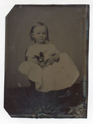 19th Century Tintype Photo Of A Very Cute Girl Holding A Squeak Toy Rooster