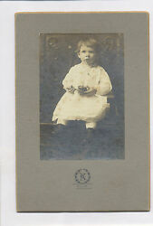 C-1900 Cute Girl W/ German Tin Toy Whistle / Rattle Lancaster, Pa. Cabinet Photo