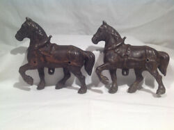 Cast Iron Horses For Large Horse Drawn Toy 1890's-1910, Original Matched Pair