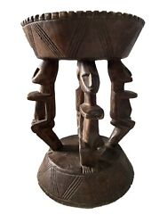 African Dogon Carved Wood Milk Stool Mali 11 H By 8 D