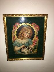 Antique Late 1800and039s To Early 1900and039s Very Ornate 2d Print Gold Gilt Frame