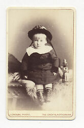 1870's-1880's Cdv Photo Child W/ German Toy Train Hand Car, Tin And Cloth Figures