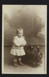 Tin Pull Toy Train Engine With Child Rppc Photo, Large And Impressive, 1913-1929