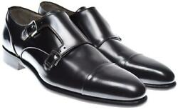 Kiton Shoes Monk Strap Cap-toe Leather Size 11.5 Us Dark Brown 01so0119 2850