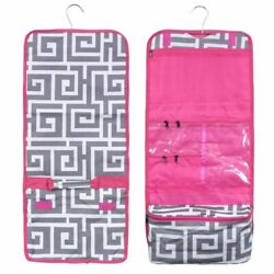 Travel Hanging Cosmetic Toiletry Organizer Carry Bag Greek Key with Pink Trim $10.99
