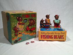 1950and039s W Toy Japan Fishing Bears Battery Op Mechanical Bank With Original Box