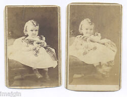 2 1860's Cdvs Photo American Tin Toy Horse Cute Boy, Robby Posh W/ Smile And Frown