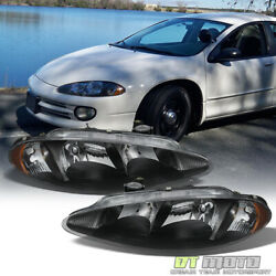 Black 1998 2004 Dodge Intrepid Headlights Headlamps Replacement 98 04 LeftRight