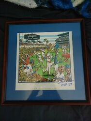 Signed Framed Tommy Lasorda Autographed 1991 Los Angeles Dodger Yearbook Cartoon